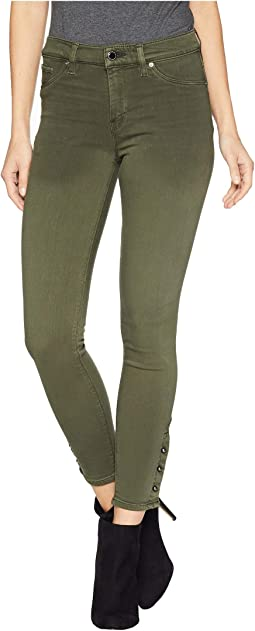Nico Mid-Rise Crop Skinny Jeans with Grommet Detail in Washed Army Green