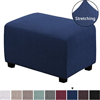 H.VERSAILTEX Form Fit Stretch Rectangle Folding Storage Covers Ottoman Slipcovers Removable Footstool Protect Footrest Covers High Spandex Small Checks Jacquard Fabric(Navy, Standard)