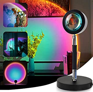 Outlines Sunset Lamp, Rainbow Projector Night Light, 360° Rotatable Aluminum Alloy Romantic Lights, Red Light Lamp Project...
