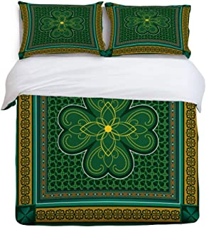 3 Piece Bedding Set Comforter Cover with Zipper Closure King Size, St. Patrick's day Retro Celtic Knots Lucky Clover Design Irish Decor, Bedspread Daybed with 2 Pillow Sham Cases for Kids/Adults