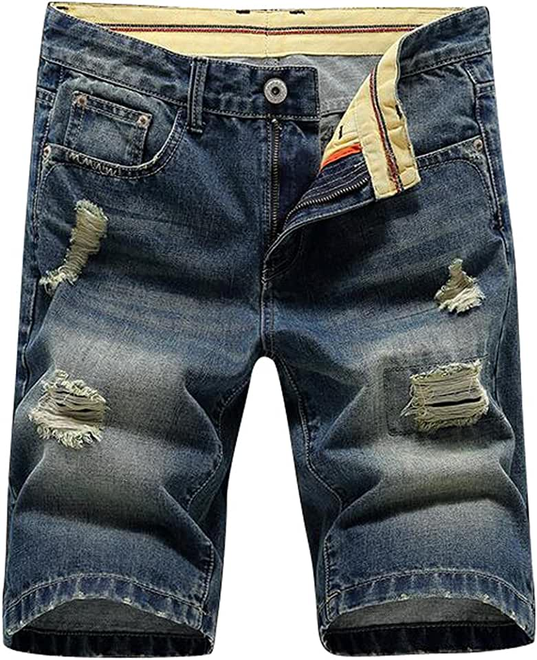 BOBOYU-Men Classic Distressed Ripped Destroyed Stretchy Slim Fit Denim Jeans Shorts
