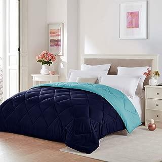 Seward Park Solid, Reversible Color Microfiber Comforter,Hypoallergenic Plush Microfiber Fill, Duvet Insert or Stand-Alone Comforter, Fall/Winter Blanket, King, Navy/Blue