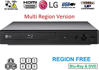 Dynastar Lecteur Blu-Ray LG BP-250 Multi Région Smart 110-240 V avec Câble HDMI 1,8 m