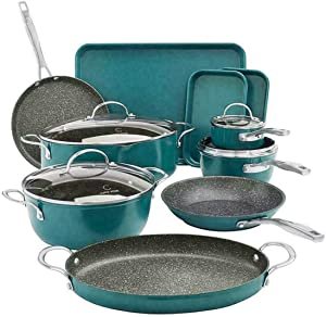 Curtis Stone Dura-Pan All-Purpose 14-Piece Cookware Set ~ Turquoise Blue