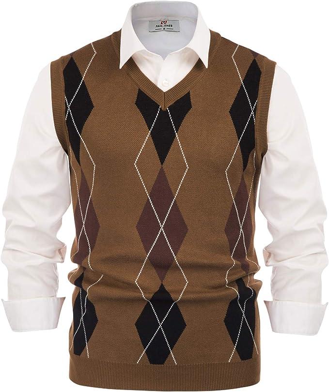 1940s Men's Shirts, Sweaters, Vests Paul Jones Mens Argyle Sweater Vest Knitted Casual V-Neck Pullover Vest  AT vintagedancer.com