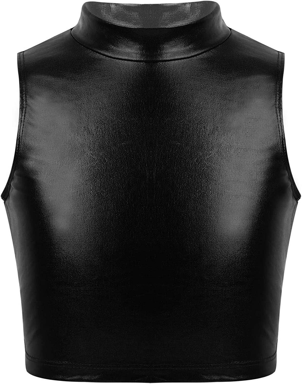 JEEYJOO Kids Girls Metallic Crop Top Sleeveless Turtle Neck Workout Hip Hop Jazz Dance Tank Tee Shirt Activewear Black 14