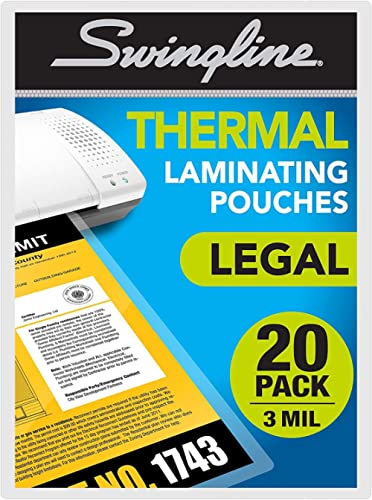 Swingline Laminating Sheets, Thermal Laminating Pouches Legal Size, 3mil, 20 Pack (3202061)