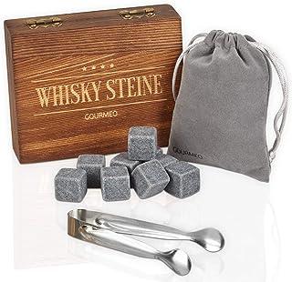 GOURMEO Whisky Steine aus natürlichen Speckstein in hochwertiger Holzbox I wiederverwendbare Eiswürfel, Whiskysteine, Whisky Stones, Kühlsteine, 9 Stück