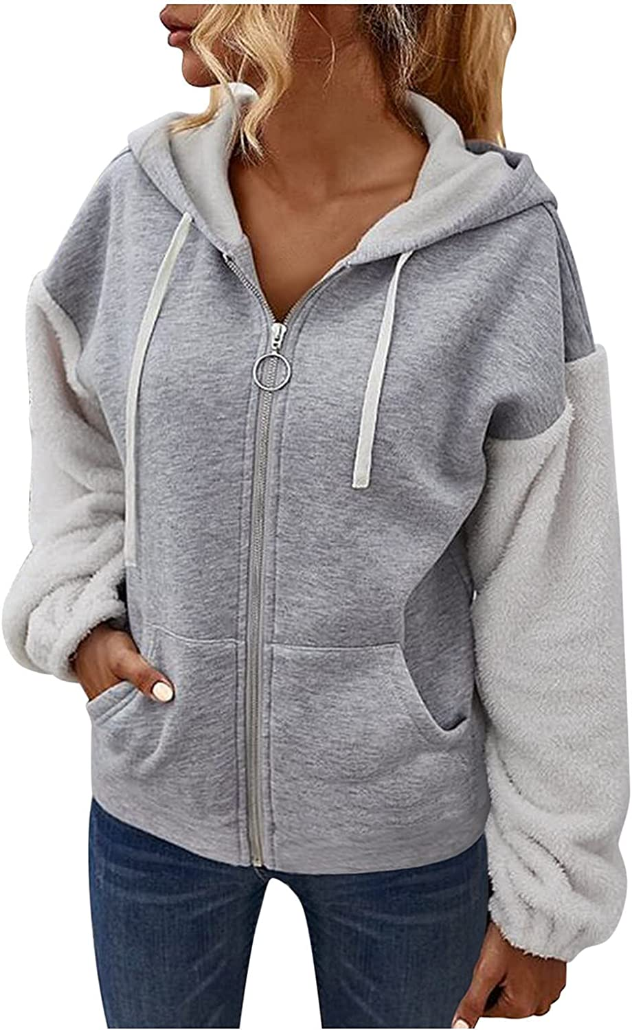 Sweat Jackets for Women Contrast Patchwork Hooded Long Sleeve Casual Coat