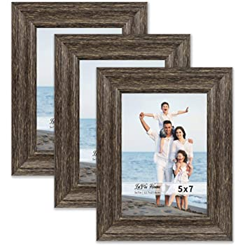 LaVie Home 5x7 Picture Frames (3 Pack, Brown Wood Grain) Rustic Photo Frame Set with High Definition Glass for Wall Mount & Table Top Display, Set of 3 Elite Collection