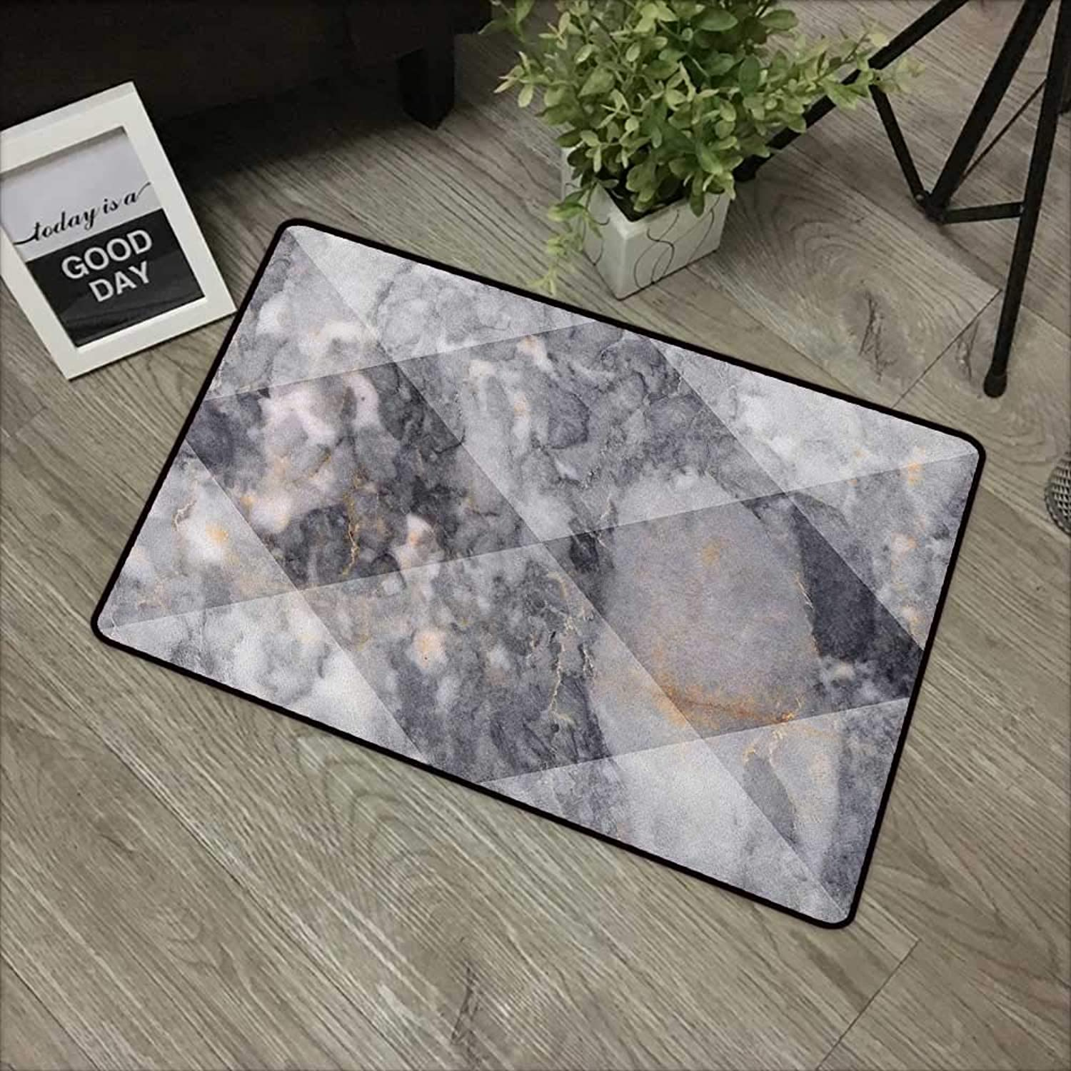 Bathroom Door mat W35 x L59 INCH Marble,Geometric Diamond Shaped Grunge Granite Rock Facet Forms Ceramic Abstract Print, Pale Grey Non-Slip, with Non-Slip Backing,Non-Slip Door Mat Carpet