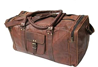 "Handmade Vintage 24"" Men's Genuine Leather Duffle Travel Overnight Gym Bag Brown"