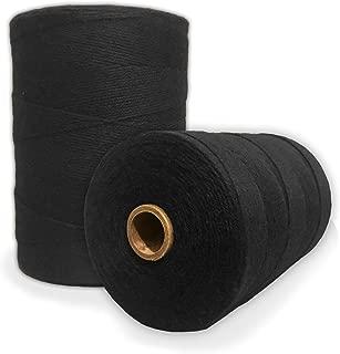 Durable Loom Warp Thread (Black), 8/4 Warp Yarn (800 Yards), Perfect for Weaving: Carpet, Tapestry, Rug, Blanket or Pattern - Warping Thread for Any Loom
