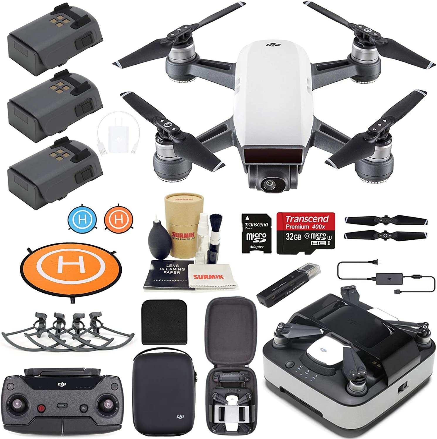 DJI Spark Drone Quadcopter (Alpine White) Elite Bundle with with
