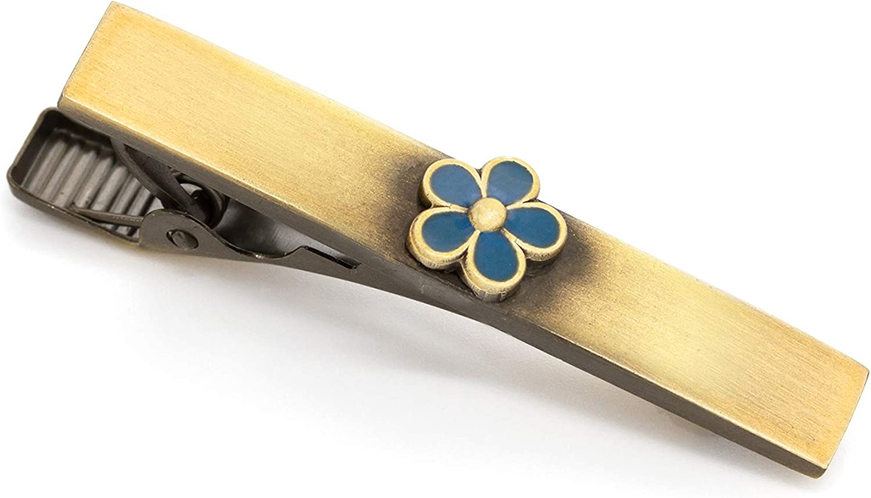 Masonic Revival Forget Me Not Tie Bar Clip (Short/Antique Gold)