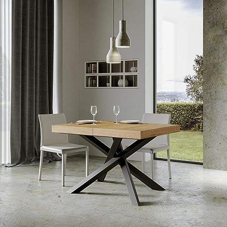 Itamoby, Volantis Table extensible 130 – > 234 cm, plateau en chêne naturel et cadre anthracite L.130 x P.90 x H.77 (extensible jusqu'à 234 cm avec deux rallonges)