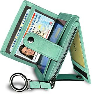 Womens Slim Minimalist RFID Card Holder Front Pocket Wallet,Ladies Mini Coin Purse With Keychain