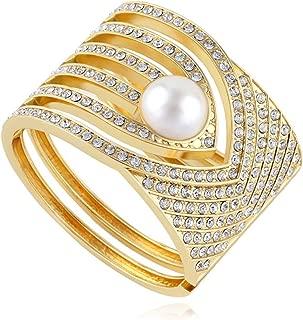 Alloy Metal Gold Hollow Hoop Open Cuff Wide Bracelet Bangle