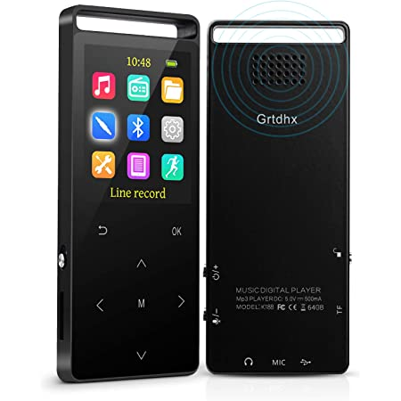 Voice Recorder Expandable up to 128GB TF Card with Armband and Earphone Hi-Fi Lossless Sound Music Player with FM Radio 32GB MP3 Players with Bluetooth MP3 Player Black Pedometer