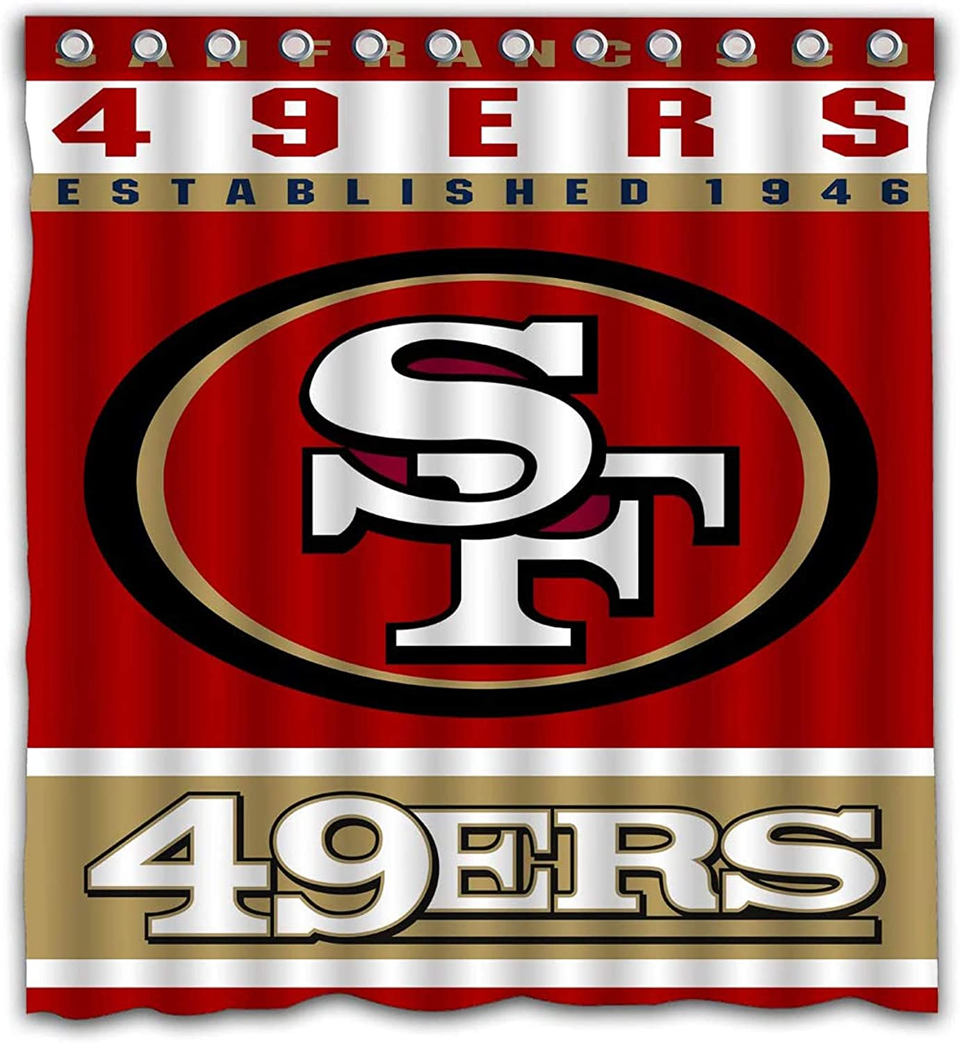 Team Design Shower Curtain Waterproof Polyester Fabric 66x72 Inches 49ers