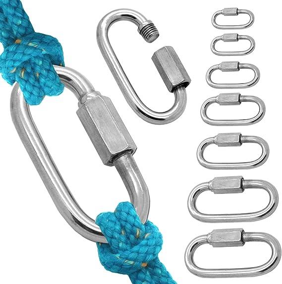 Tornillo Conector Carabina Acero Inoxidable Mosquetón Conector de Cadena V4A A4 Grillete Cuerda de Alambre Tensor, Tamaño:8mm - 5 piezas
