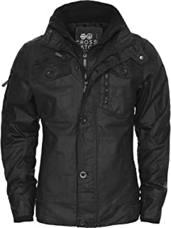 Crosshatch New Mens Full Zip Warm Jacket Padded Double Layer Button Winter Coat
