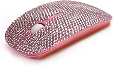 SA@ Bling Wireless Mouse for Girls, Pink Rhinestone Coverd Computer Mouse with USB Receiver, Sparkly Cute Flat Mice for Laptop, PC, Notebook, MacBook gifts