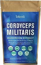 Organic Cordyceps Mushroom Powder Militaris Extract w/ 30% Beta Glucans  USDA Certified, Lab Tested Superfood Supplement from Fruiting Bodies   Enhanced Endurance & Performance  65 grams, 65 Servings