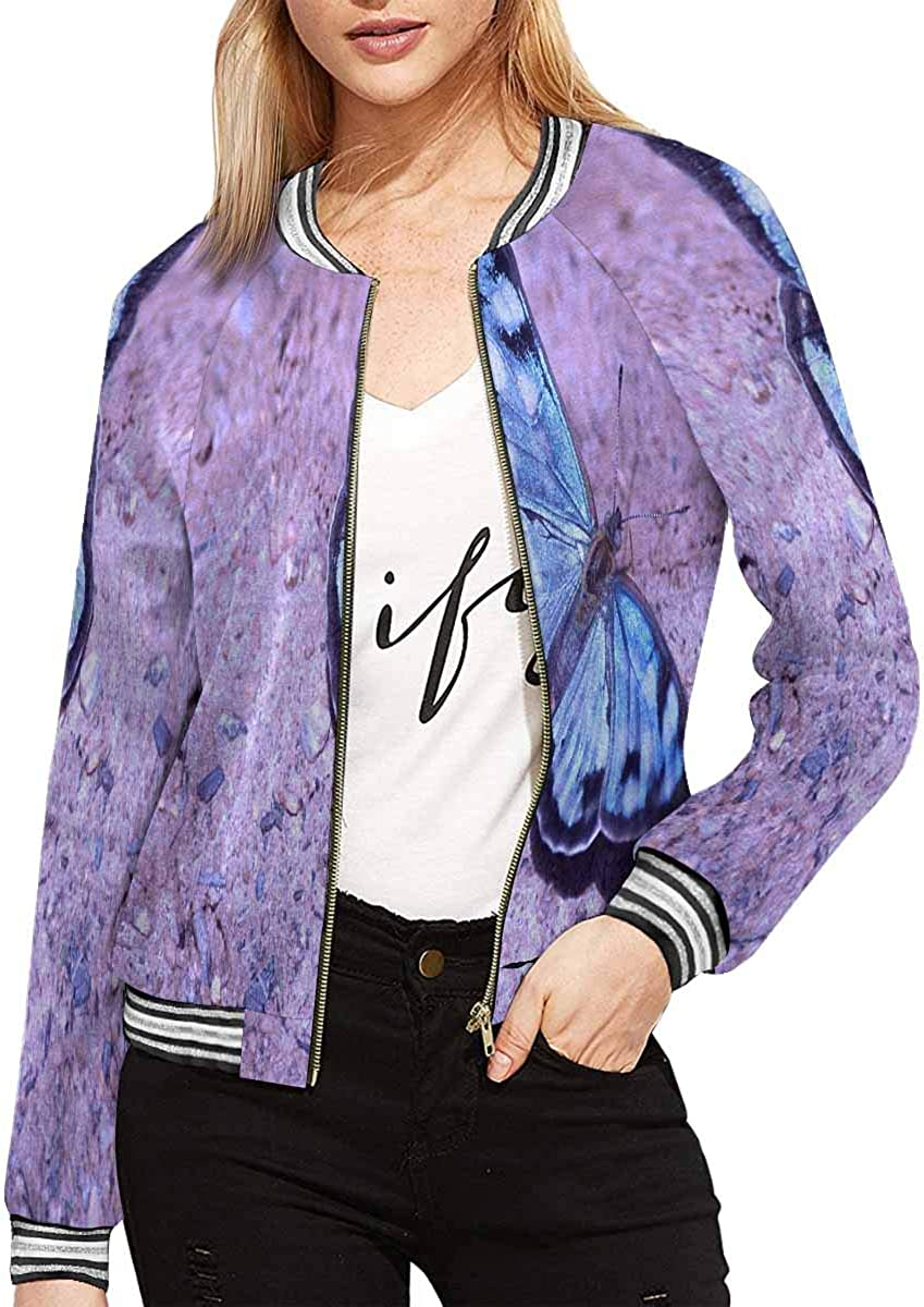 InterestPrint Women's Blue Butterfly on Blue Long Sleeves Zippered Pockets Jacket