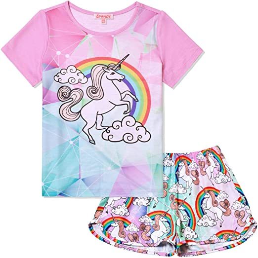 QPANCY Summer Pajamas for Girls Pjs Sets Short Sleeve Summer Sleep Night Shirt Clothes