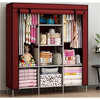 Maison & Cuisine 6+2 Layer Fancy and Portable Foldable Collapsible Closet/Cabinet (Need to Be Assembled) (88130) (Wine Red)