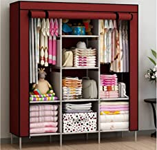 GTC 6+2 Layer Fancy and Portable Foldable Collapsible Closet/Cabinet (Need to Be Assembled) (88130) (Wine)