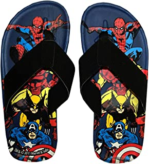 Animewild Marvel Comics Group Superhero Collage Flip Flops Sandals Select Shoe Size: 10/11