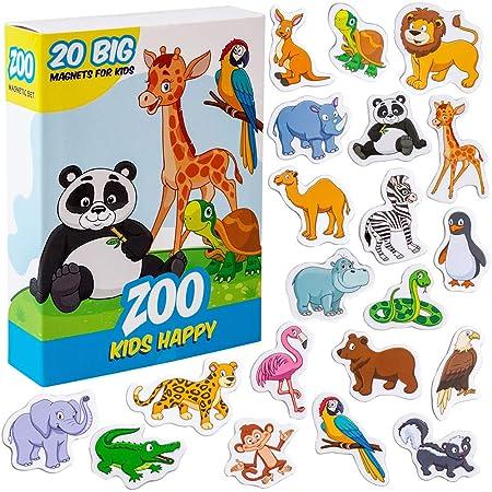 Magneti bambini MAGDUM Animali Felici ZOO - 20 GRANDI calamite frigorifero - Giochi educativi 1 anno - Giochi bambini 3 anni -Animali fattoria per bambini-Calamite bambini-Giochi magnetici per bambini