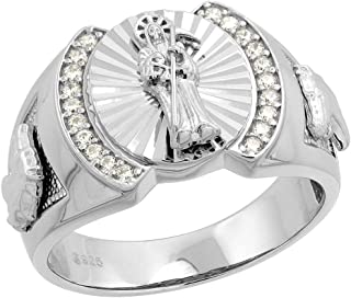 Mens Sterling Silver Cubic Zirconia Santa Muerte Ring Round Horse Sides 17/32 inch wide, size 8 - 14