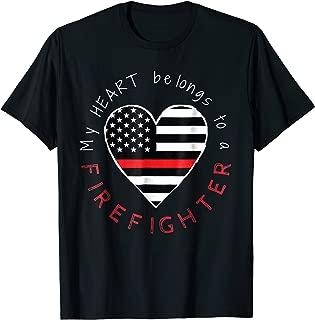 Firefighter Wife Girlfriend - Thin Red Line Heart - T-shirt