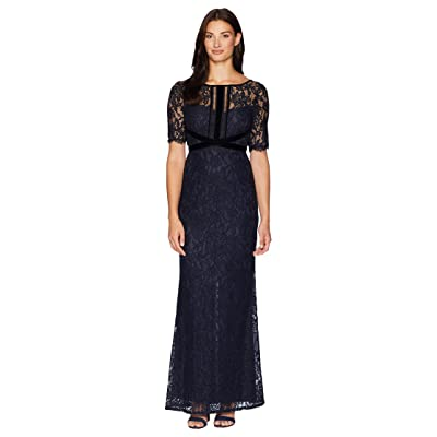 Adrianna Papell Elbow Sleeve Lace Gown with Crisscross Bodice Detail (Midnight) Women