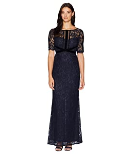 Elbow Sleeve Lace Gown with Crisscross Bodice Detail