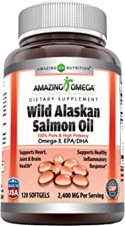 Amazing Omega Wild Alaskan Salmon Oil - 2400 mg Salmon Oil Per Serving, 120 Softgels (Non-GMO) - Supports Heart, Joint & Brain Health and Promotes Healthy inflammatory Response