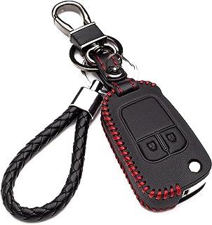 Hülle Autoschlüssel für Opel   Kunstleder Schutzhülle mit Schlüsselanhänger Schlüssel 2 Tasten für Chevrolet Aveo Cruze Trax für Opel Corsa Mokka Schutz Etui für Fernbedienung(red Edition)