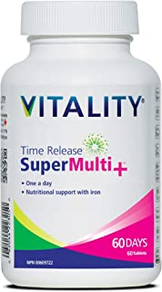 VITALITY Time Release Super Multi+ | Multivitamin | Supports Healthy Hair, Skin and Nails | 60 Tablets