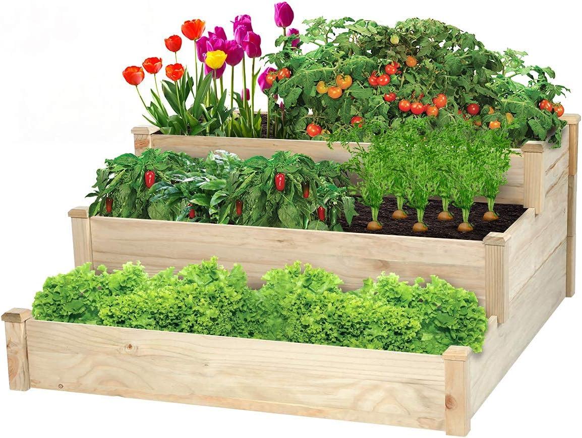 3 Tier Raised Garden Bed Wooden Elevated Planter Box Outdoor Indoor Solid Vegetables Growing Bed Wood Planter Garden Box Kit for Flower Herb Gardening Backyard Patio, 49'' x 49'' x 22''