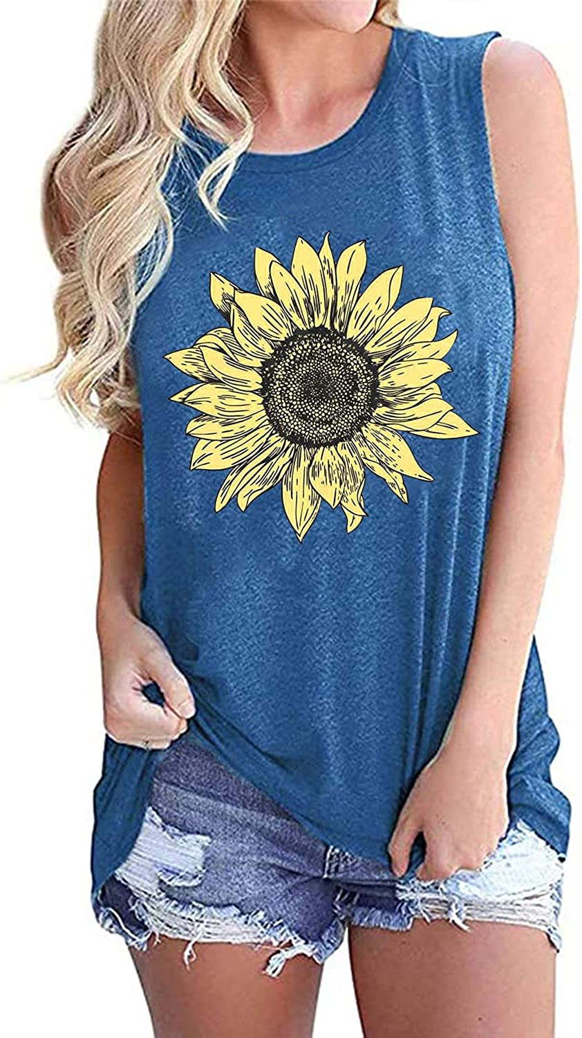 Sunflower Graphic Tank Tops Women Summer Sleeveless Cute Graphic Vest Tops Casual Floral Cami Shirts