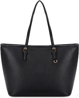 COOFIT Handtasche Damen Schwarz Leder, Shopper Handtasche Schwarz Damentasche PU Leder Handtasche Elegant Groß Damen Tasche für Schule Einkauf