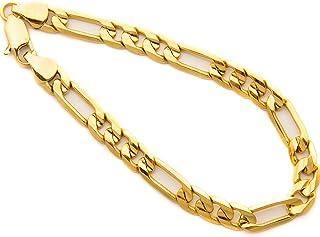 Diamond Cut 7mm Figaro Bracelet for Men 24k Real Gold Plated