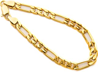 Diamond Cut 7mm Figaro Bracelet for Men 24k Real Gold...