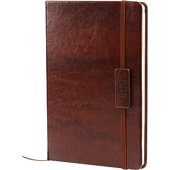 Kesote A5 Notizbuch Liniert Hardcover Leder mit Gummiband Lesezeichen Innentasche, 200 Seiten