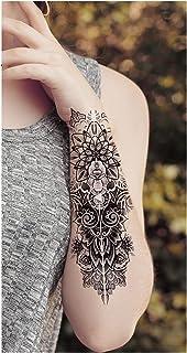 Qqinghan Zwarte Woud Tattoo Sticker Voor Mannen Vrouwen Kinderen Tijger Wolf Death Skull Tijdelijke Tattoo Fake Henna Skel...