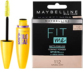 Maybelline New York Volume Express Colossal Mascara, Washable, Glam Black, 10.7g and Maybelline Fit Me Compact, Natural Iv...