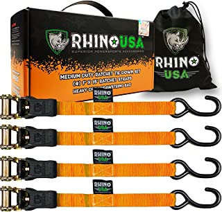 """RHINO USA Ratchet Tie Down Straps (4PK) - 1,823lb Guaranteed Max Break Strength, Includes (4) Premium 1"""" x 15' Rachet Tie Downs with Padded Handles. Best for Moving, Securing Cargo (ORANGE)"""